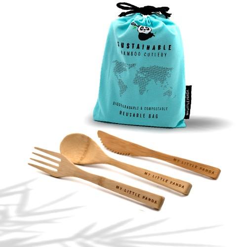 Reusable Bamboo Cutlery - Set of 12 - Aquamarine
