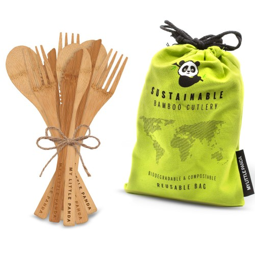 Disposable Bamboo Cutlery for events 60-Lime