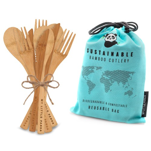 Disposable Bamboo Cutlery for events 30-Aquamarine