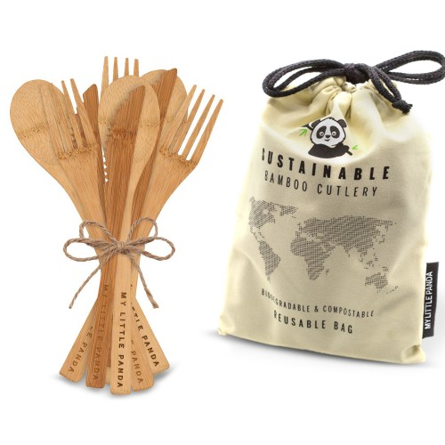 Disposable Bamboo Cutlery for events 100-Ivory