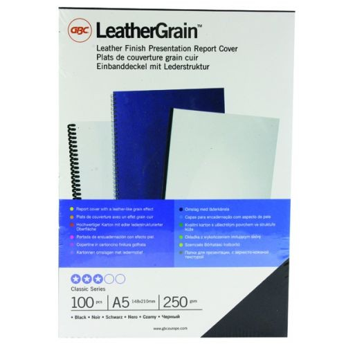 GBC LeatherGrain A5 Binding Covers 250gsm White (Pack of 100)