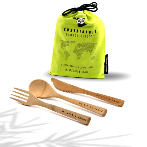 Reusable Bamboo Cutlery - Set of 12 - Lime