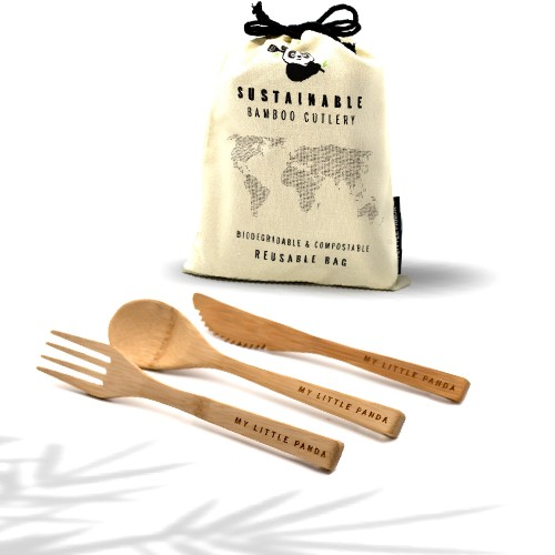 Reusable Bamboo Cutlery - Set of 12 - Ivory
