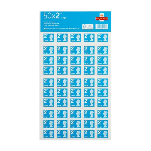 Royal Mail 2nd/Second Class LARGE Letter Postage Stamps [Sheet 50 Stamps]
