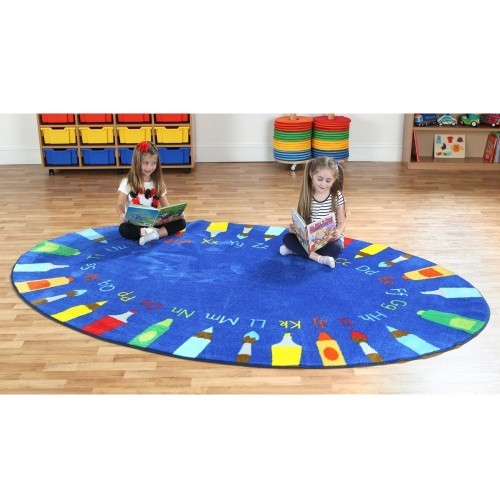 School Rainbow Oval Pencils Alphabet Carpet 3x2m Heavy Duty Tuf-pile & Anti-skid Safety Backing