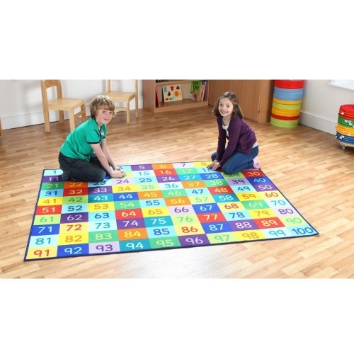 School Rainbow 1-100 Numbers Carpet 2x1.5m Durable Tuf-loop & Anti-skid Safety Backing