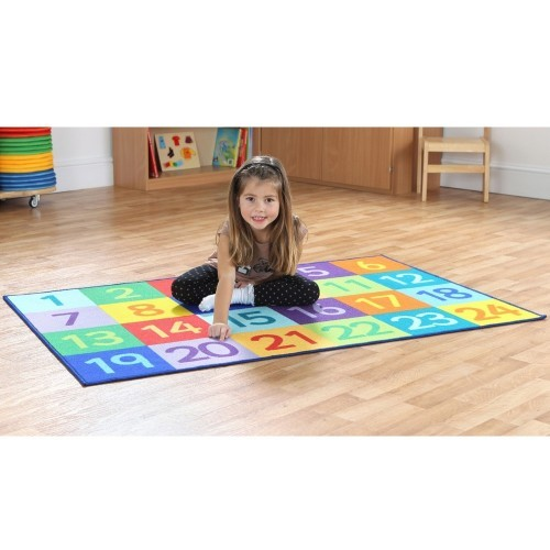 School Rainbow 1-24 Numbers Carpet 1.5x1m Durable Tuf-loop & Anti-skid Safety Backing