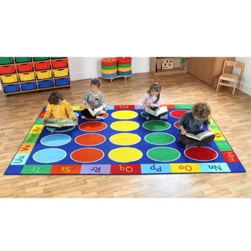 School Rainbow ABC Rectangle Carpet 3x2m Heavy Duty Tuf-pile & Anti-skid Safety Backing