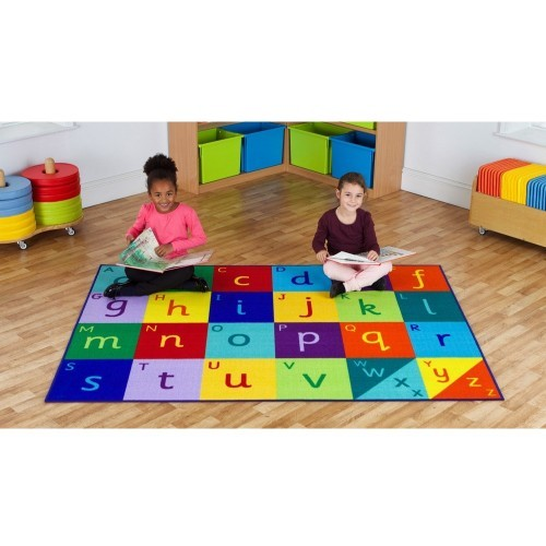 School Rainbow Alphabet Carpet 2x1.5m Durable Tuf-loop & Anti-skid Safety Backing