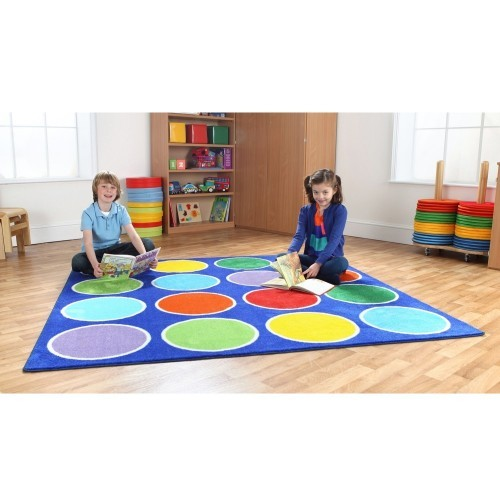 School Rainbow Circle Placement Carpet 2x2m Heavy Duty Tuf-pile & Anti-skid Safety Backing