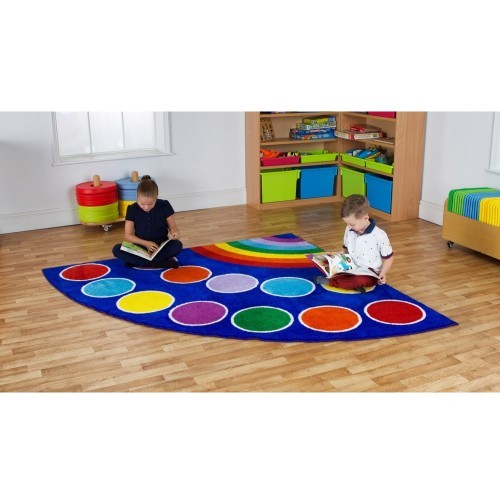School Rainbow Corner Placement Carpet 2x2m Heavy Duty Tuf-pile & Anti-skid Safety Backing