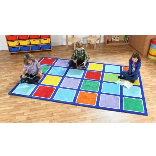 School Rainbow Rectangle Placement Carpet 3x2m Heavy Duty Tuf-pile & Anti-skid Safety Backing