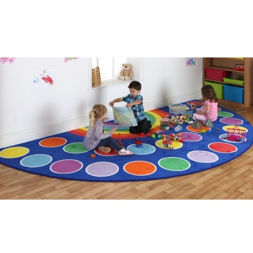School Rainbow Semi-Circle Carpet 2x4m Heavy Duty Tuf-pile & Anti-skid Safety Backing