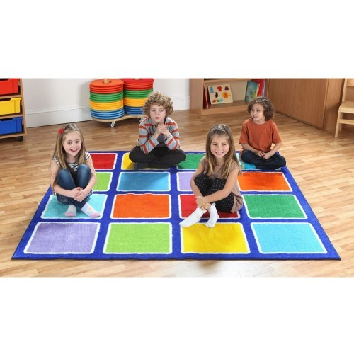 School Rainbow Square Placement Carpet 2x2m Heavy Duty Tuf-pile & Anti-skid Safety Backing