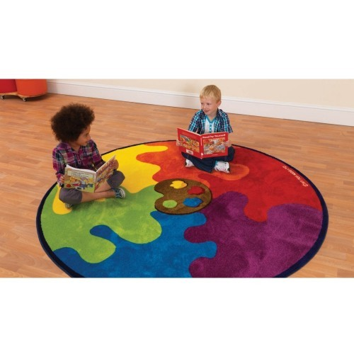 School Decorative Colour Palette Carpet 2x2m Heavy Duty Tuf-pile & Anti-skid Safety Backing