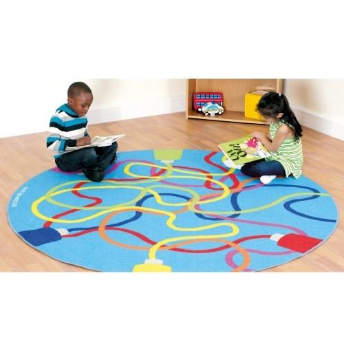 School Decorative Colour Tubes Carpet 2x2m Durable Tuf-loop & Anti-skid Safety Backing