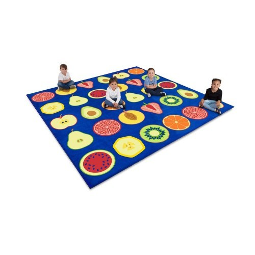 School Decorative Fruit Square Placement Carpet 3x3m Heavy Duty Tuf-pile & Anti-skid Safety Backing