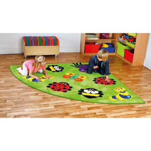 School Back to Nature Bug Corner Placement Carpet 2x2m Heavy Duty Tuf-pile & Anti-skid Safety Backing