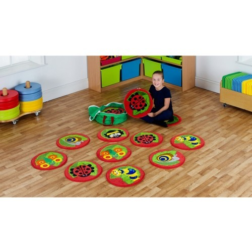 School Back to Nature Bug Mini Placement Carpets 400x400mm Heavy Duty Tuf-pile & Anti-skid Safety Backing [Pack 14]