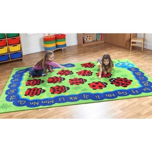 School Back to Nature Chloe Caterpillar Carpet 3x2m Heavy Duty Tuf-pile & Anti-skid Safety Backing