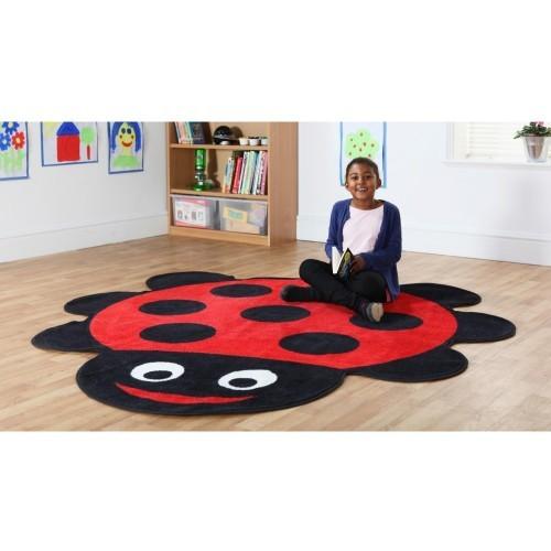 School Back to Nature Ladybird Shaped Carpet 2x2m Heavy Duty Tuf-pile & Anti-skid Safety Backing