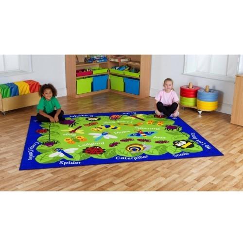School Back to Nature Mini Beast Carpet 2.4x2m Durable Tuf-loop & Anti-skid Safety Backing