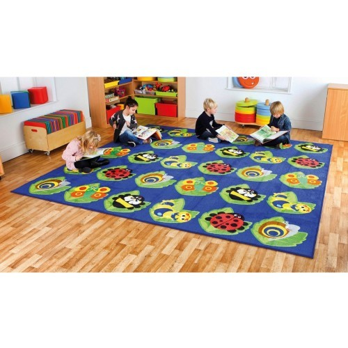 School Back to Nature Square Bug Placement Carpet 3x3m Heavy Duty Tuf-pile & Anti-skid Safety Backing