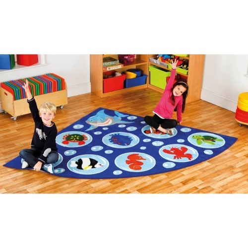 School Under the Sea Corner Placement Carpet 2x2m Heavy Duty Tuf-pile & Anti-skid Safety Backing