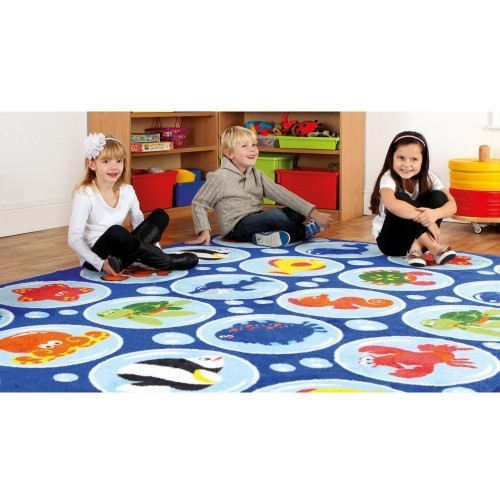 School Under the Sea Rectangular Placement Carpet 3x2m Heavy Duty Tuf-pile & Anti-skid Safety Backing