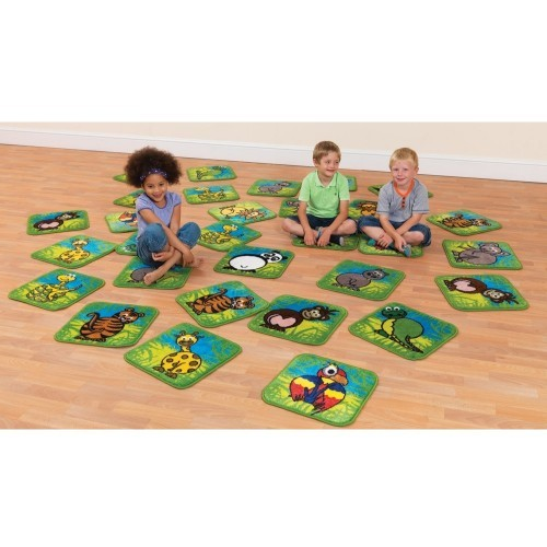 School Town & Country Zoo Animals Mini Placement Carpets 400x400mm Heavy Duty Tuf-pile & Anti-skid Safety Backing [Pack 30]