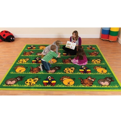 School Town & Country Zoo Animals Placement Carpet 3x3m Heavy Duty Tuf-pile & Anti-skid Safety Backing