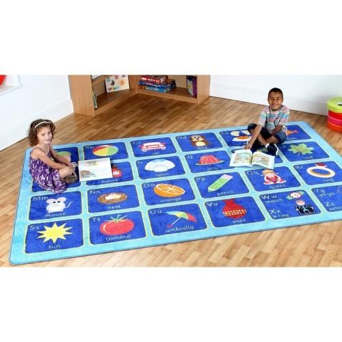 School Alphabet Carpet 3x2m Heavy Duty Tuf-pile & Anti-skid Safety Backing