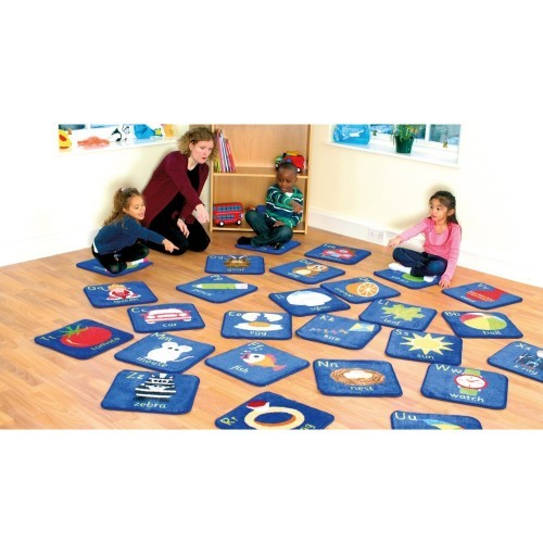 School Alphabet Mini Placement Carpets 400x400mm Heavy Duty Tuf-pile & Anti-skid Safety Backing [Pack 26]