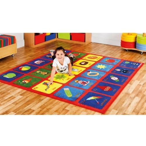School Alphabet Carpet 2x2m Heavy Duty Tuf-pile & Anti-skid Safety Backing