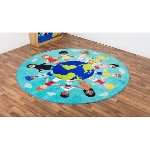 School Children of the World Multi-Cultural Carpet 2x2m Heavy Duty Tuf-pile & Anti-skid Safety Backing