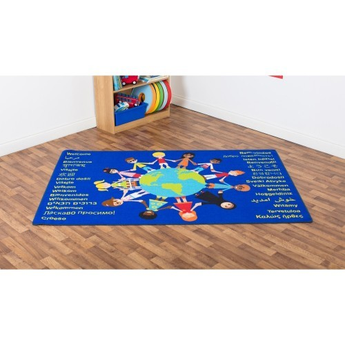 School Children of the World Welcome Carpet 2x1.3m Durable Tuf-loop & Anti-skid Safety Backing