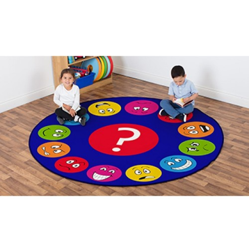 School Emotions Faces Interactive Circular Carpet 2x2m Heavy Duty Tuf-pile & Anti-skid Safety Backing