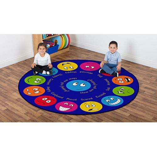 School Emotions Interactive Circular Placement Carpet 2x2m Heavy Duty Tuf-pile & Anti-skid Safety Backing