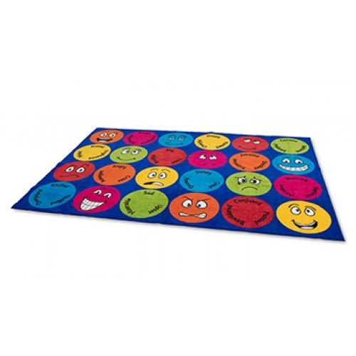 School Emotions Interactive Rectangular Placement Carpet 3x2m Heavy Duty Tuf-pile & Anti-skid Safety Backing