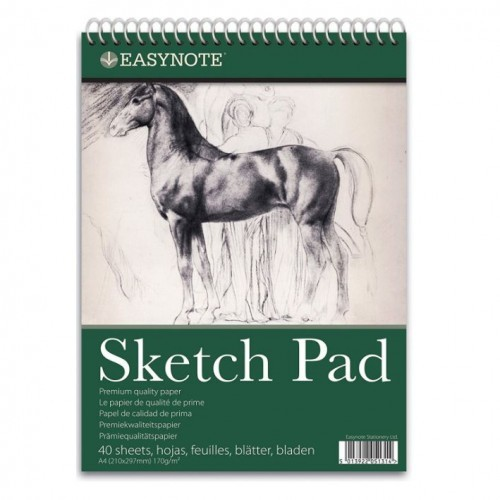 School Sketch Pad A4 40 Sheets 170gsm Premium Quality Paper Spiral Bound [Pack 1]
