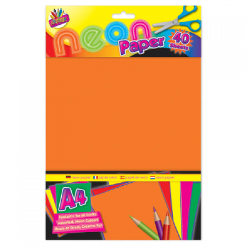 School Neon Paper A4 Assorted 40 Sheets [Pack 1]