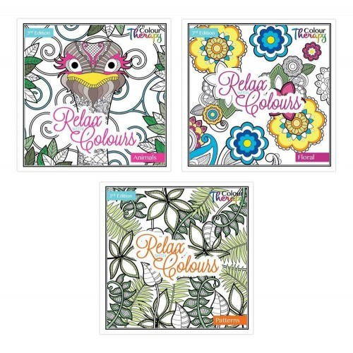 School Colouring Therapy Book Detailed Images Bright Paper 210x210mm 30 Pages [Pack 3]