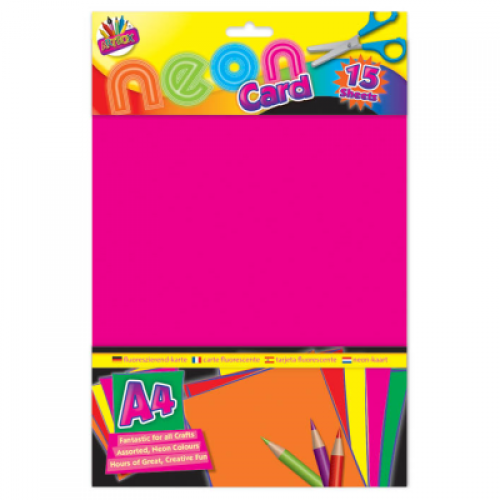 School Neon Card A4 Assorted 15 Sheets [Pack 1]