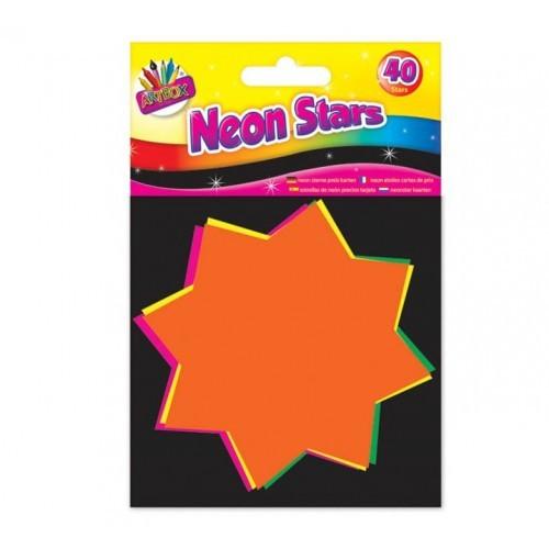 School Neon Stars 10x10cm Assorted [Pack 40]