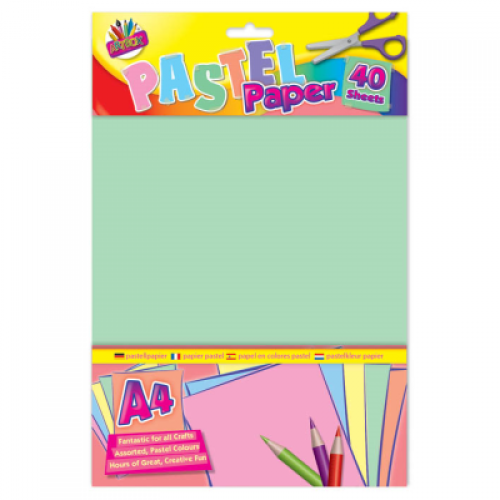 School Pastel Paper A4 Assorted 40 Sheets [Pack 1]
