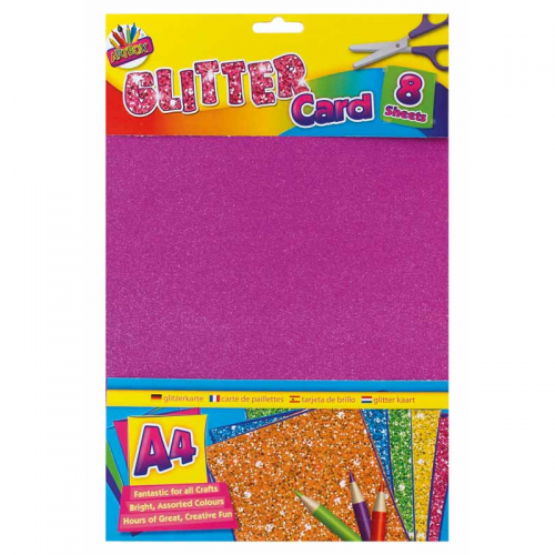 School Glitter Card A4 Assorted 8 Sheets [Pack 1]