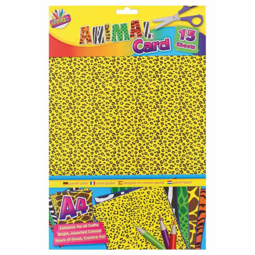 School Animal Print Card A4 Assorted 15 Sheets [Pack 1]