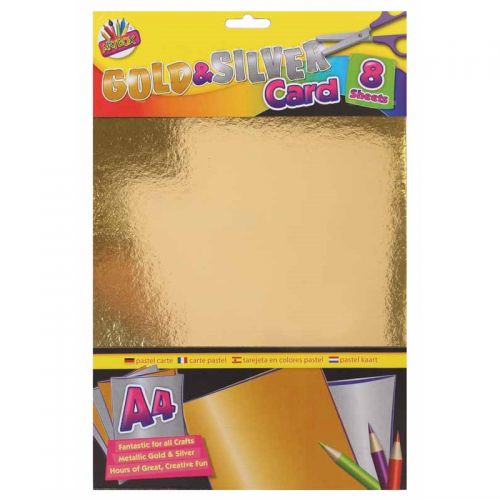 School Gold & Silver Card A4 8 Sheets [Pack 1]
