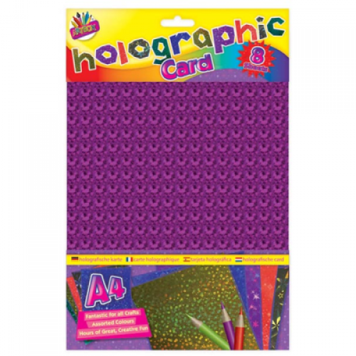 School Holographic Card A4 Assorted 8 Sheets [Pack 1]