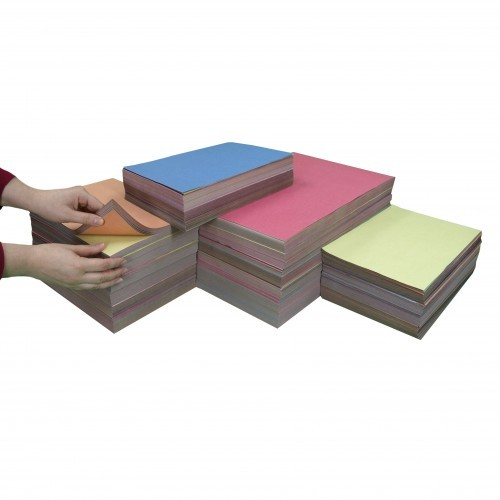 School Sugar Paper Stacks - 2500 x A4 Assorted / 1250 x A3 Assorted [Pack 1]